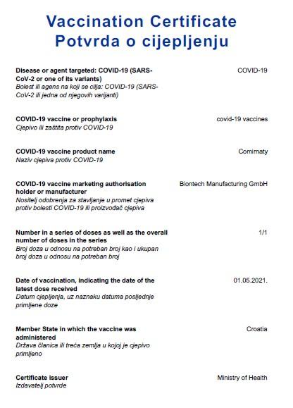 Potvrda o cjepljenju 1/1 (preboljenje i 1 doza)